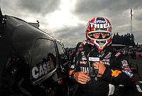 Aug. 5, 2011; Kent, WA, USA; NHRA funny car driver Brian Thiel during qualifying for the Northwest Nationals at Pacific Raceways. Mandatory Credit: Mark J. Rebilas-