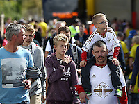 Awansea fans  during the Barclays Premier League match Watford and Swansea   played at Vicarage Road Stadium , Watford