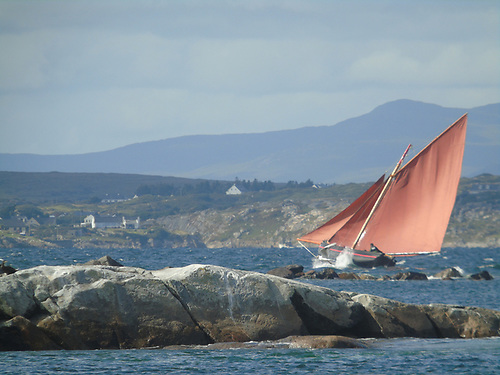 Galway Hooker racing in Connemara, where these traditional craft thrive with an active regatta programme