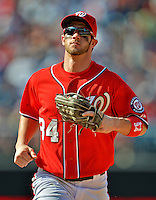 16 June 2012: Washington Nationals outfielder Bryce Harper trots back to the dugout during a game against the New York Yankees at Nationals Park in Washington, DC. The Yankees defeated the Nationals in 14 innings by a score of 5-3, taking the second game of their 3-game series. Mandatory Credit: Ed Wolfstein Photo