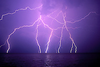 Canada, Ontario. Lighting over Lake Ontario<br />