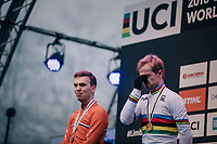 Eli Iserbyt (BEL/Marlux-Bingoal) getting emotional during the podium ceremony<br /> <br /> U23 Men's Race<br /> UCI CX Worlds 2018<br /> Valkenburg - The Netherlands
