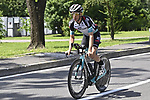 Simon Yates (GBR) Team BikeExchange recons the course before Stage 21 of the 2021 Giro d'Italia, an individual time trial running 30.3km from Senago to Milan, Italy. 30th May 2021.  <br /> Picture: LaPresse/Fabio Ferrari   Cyclefile<br /> <br /> All photos usage must carry mandatory copyright credit (© Cyclefile   LaPresse/Fabio Ferrari)