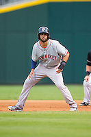 Deven Marrero (29) of the Pawtucket Red Sox takes his lead off of first base against the Charlotte Knights at BB&T Ballpark on August 9, 2014 in Charlotte, North Carolina.  The Red Sox defeated the Knights  5-2.  (Brian Westerholt/Four Seam Images)