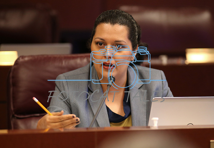 Nevada Assemblywoman Olivia Diaz, D-North Las Vegas, works in committee at the Legislative Building in Carson City, Nev., on Wednesday, April 29, 2015. <br /> Photo by Cathleen Allison