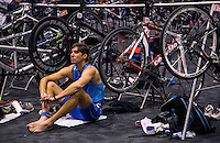 10 AUG 2014 - LIVERPOOL, GBR - Paratriathlete Steve Judge waits for the start of his wave at the Tri Liverpool triathlon which incorporated the 2014 British Age Group Triathlon Championships in Kings Dock in Liverpool, Great Britain (PHOTO COPYRIGHT © 2014 NIGEL FARROW, ALL RIGHTS RESERVED)