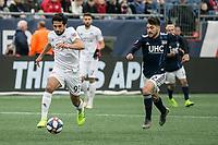 Foxborough, Massachusetts - March 24, 2019:   FC Cincinnati (white) beat the New England Revolution (blue/white) 2-0 in a Major League Soccer (MLS) match at Gillette Stadium.
