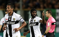 Calcio, Serie A: Parma - Juventus, Parma stadio Ennio Tardini, 1 settembre 2018.<br /> Parma's Gervinho (r) celebrates after scoring with his teammates during the Italian Serie A football match between Parma and Juventus at Parma's Ennio Tardini stadium, September 1, 2018. <br /> UPDATE IMAGES PRESS/Isabella Bonotto