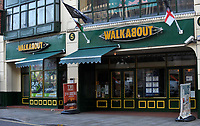 COPY BY TOM BEDFORD<br /> Pictured: Walkabout bar and restaurant, days after the tragic incident in Wind Street, Swansea, Wales, UK. <br /> Re: Inquest into the death of 20-year-old bar worker Cyran Stewart at Walkabout pub in Swansea, Wales, UK<br /> The young man died after a work-related incident on 24 February 2014.<br /> He was taken to Morriston Hospital for emergency treatment but died four days later.
