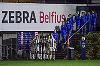 The players are ready to enter the field before a female soccer game between Sporting Charleroi and KRC Genk Ladies on the 9th matchday of the 2020 - 2021 season of Belgian Scooore Womens Super League , friday 11 th of December 2020  in Marcinelle , Belgium . PHOTO SPORTPIX.BE | SPP | STIJN AUDOOREN
