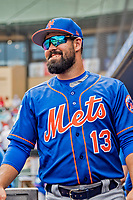 28 February 2019: New York Mets  top prospect infielder Luis Guillorme smiles in the dugout during a Spring Training game against the St. Louis Cardinals at Roger Dean Stadium in Jupiter, Florida. The Mets defeated the Cardinals 3-2 in Grapefruit League play. Mandatory Credit: Ed Wolfstein Photo *** RAW (NEF) Image File Available ***