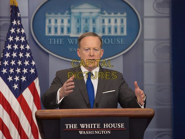 JULY 21, 2017: White House press secretary Sean Spicer has resigned, according to reports on Friday. Spicer quit over the hiring of a new communications director, Anthony Scaramucci,<br /> STOCK PHOTO: Presidential Press Secretary Sean Spicer holds a news briefing at the White House in Washington DC  March 20, 2017. <br /> CAP/MPI/CNP/RS<br /> ©RS/CNP/MPI/Capital Pictures