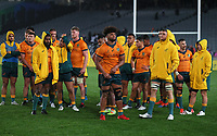 The Wallabies after the Bledisloe Cup rugby match between the New Zealand All Blacks and Australia Wallabies at Eden Park in Auckland, New Zealand on Saturday, 14 August 2021. Photo: Simon Watts / lintottphoto.co.nz / bwmedia.co.nz