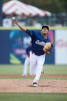 Kannapolis Cannon Ballers starting pitcher Angel Acevedo (30) in action against the Charleston RiverDogs at Atrium Health Ballpark on July 1, 2021 in Kannapolis, North Carolina. (Brian Westerholt/Four Seam Images)