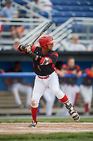 Batavia Muckdogs second baseman J.C. Millan (4) at bat during a game against the West Virginia Black Bears on June 25, 2017 at Dwyer Stadium in Batavia, New York.  Batavia defeated West Virginia 4-1 in nine innings of a scheduled seven inning game.  (Mike Janes/Four Seam Images)