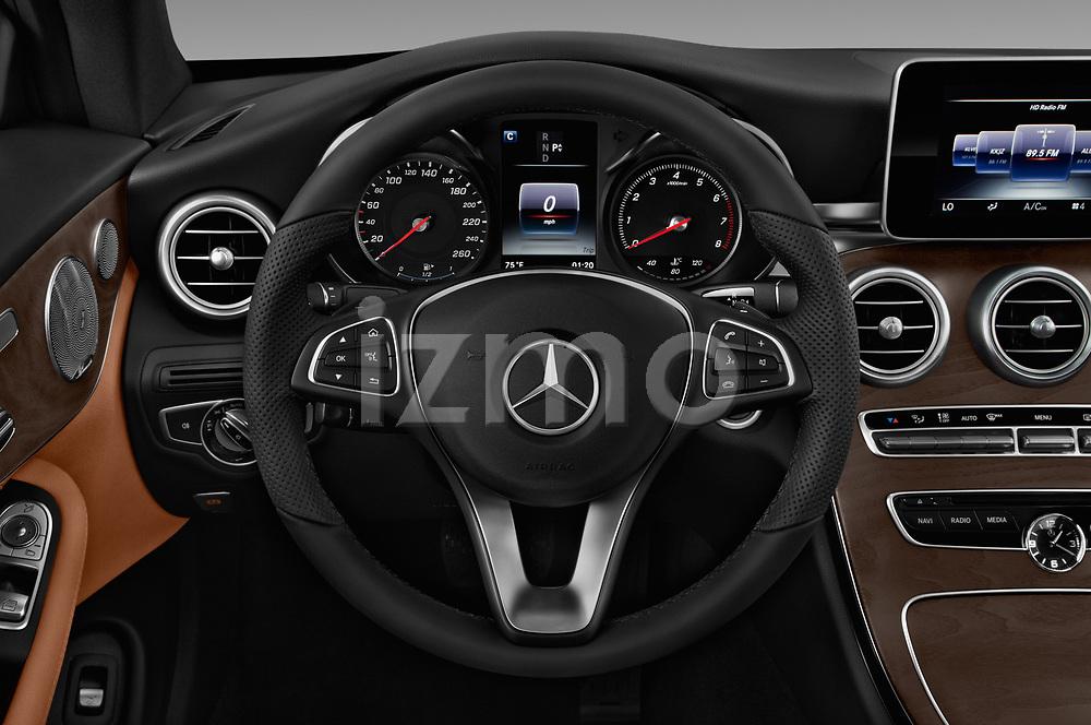 Car pictures of steering wheel view of a 2018 Mercedes Benz C-Class C300 2 Door Coupe Steering Wheel