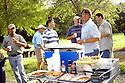 Nash Roberts, Justin Frey, Randy Pierce, Jeff Tunks, John Besh, and Greg Reggio gathered for outdoor cookout before frog hunt, June 29, 2005..(Cheryl Gerber Photo)