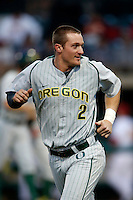 Brett Thomas #2 of the Oregon Ducks during a baseball game against the USC Trojans at Dedeaux Field on March 15, 2013 in Los Angeles, California. (Larry Goren/Four Seam Images)