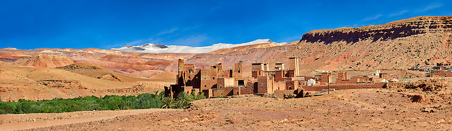 The Glaoui Kasbah's of Tamedaght in the Ounilla valley set surrounded by the hammada (stoney) desert in the foothills of the Altas mountains, Tamedaght, Morroco.
