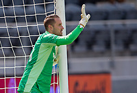LOS ANGELES, CA - APRIL 17: Brad Stuver  #41 of Austin FC giving directions during a game between Austin FC and Los Angeles FC at Banc of California Stadium on April 17, 2021 in Los Angeles, California.