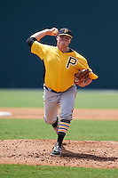 Pittsburgh Pirates Brett McKinney (60) during an instructional league intrasquad black and gold game on September 23, 2015 at Pirate City in Bradenton, Florida.  (Mike Janes/Four Seam Images)