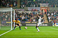 Thursday  03 October  2013  Pictured: Michu of Swansea's near miss<br /> Re:UEFA Europa League, Swansea City FC vs FC St.Gallen,  at the Liberty Staduim Swansea