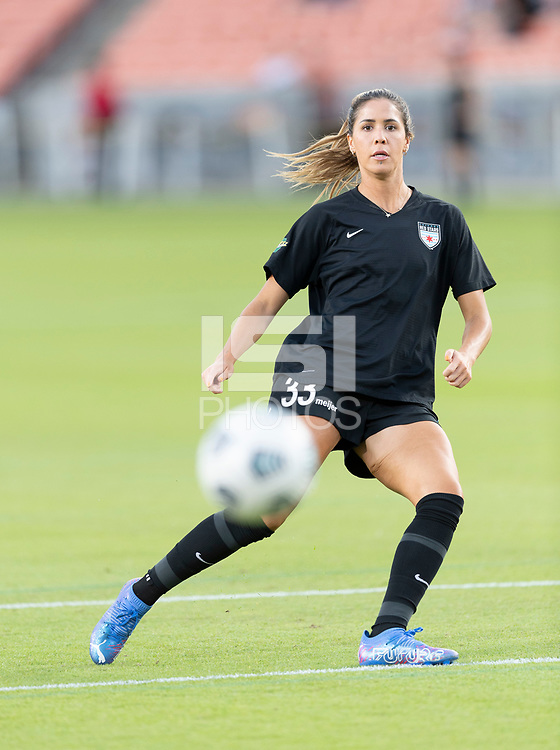HOUSTON, TX - SEPTEMBER 10: Katie Johnson #33 of the Chicago Red Stars warming up before a game between Chicago Red Stars and Houston Dash at BBVA Stadium on September 10, 2021 in Houston, Texas.
