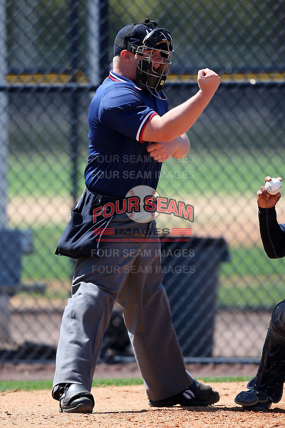 March 26, 2010:  Home plate umpire Gus Curtis during Spring Training at the Yankees Minor League Complex in Tampa, FL.  Photo By Mike Janes/Four Seam Images