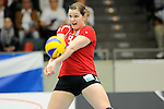 Rüsselsheim, Germany, April 13: Linda Helterhoff #8 of the Rote Raben Vilsbiburg vies during play off Game 1 in the best of three series in the semifinal of the DVL (Deutsche Volleyball-Bundesliga Damen) season 2013/2014 between the VC Wiesbaden and the Rote Raben Vilsbiburg on April 13, 2014 at Grosssporthalle in Rüsselsheim, Germany. Final score 0:3 (Photo by Dirk Markgraf / www.265-images.com) *** Local caption ***