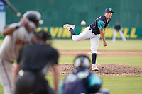 Pitcher Alec Wisely (46) of the Lynchburg Hillcats in a game against the Delmarva Shorebirds on Wednesday, August 11, 2021, at Bank of the James Stadium in Lynchburg, Virginia. (Tom Priddy/Four Seam Images)