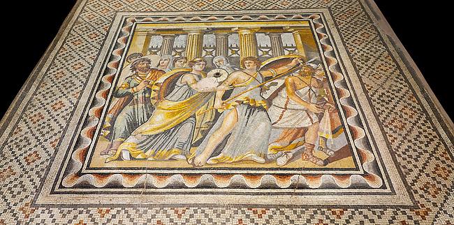 Roman mosaics - Achilles Mosaic.  Ancient Zeugama, 2nd - 3rd century AD . Zeugma Mosaic Museum, Gaziantep, Turkey.   Against a black background.