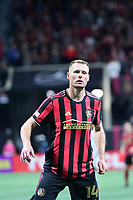 ATLANTA, GA - MARCH 07: ATLANTA, GA - MARCH 07: Atlanta United forward Adam Jahn watches the ball during the match against FC Cincinnati, which Atlanta won, 2-1, in front of a crowd of 69,301 at Mercedes-Benz Stadium during a game between FC Cincinnati and Atlanta United FC at Mercedes-Benz Stadium on March 07, 2020 in Atlanta, Georgia.