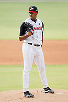 Kannapolis Intimidators starting pitcher Jefferson Olacio #39 looks to his catcher for the sign against the Hagerstown Suns at CMC-Northeast Stadium on June 9, 2012 in Kannapolis, North Carolina.  The Suns defeated the Intimidators 11-6.  (Brian Westerholt/Four Seam Images)