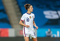 SOLNA, SWEDEN - APRIL 10: Carli Lloyd #10 of the USWNT looks to the ball during a game between Sweden and USWNT at Friends Arena on April 10, 2021 in Solna, Sweden.