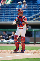 Clearwater Threshers catcher Edgar Cabral (30) looks into the dugout during a game against the Jupiter Hammerheads on April 11, 2018 at Spectrum Field in Clearwater, Florida.  Jupiter defeated Clearwater 6-4.  (Mike Janes/Four Seam Images)