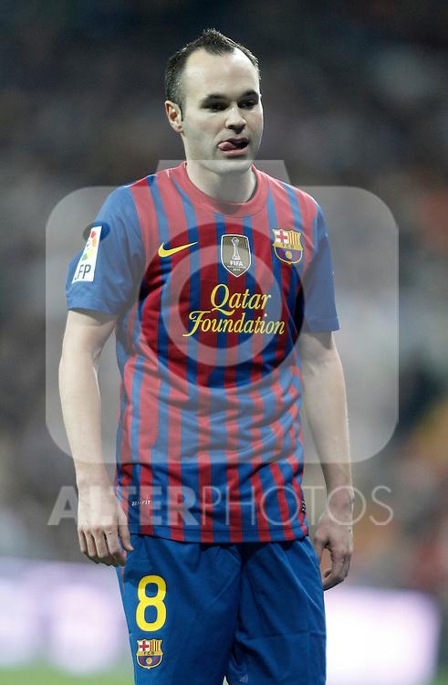 Barcelona's Andres Iniesta dejected during King's Cup Match. January 18, 2012. (ALTERPHOTOS/Alvaro Hernandez)