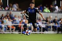 SAN JOSE, CA - AUGUST 03: Cristian Espinoza  during a Major League Soccer (MLS) match between the San Jose Earthquakes and the Columbus Crew on August 03, 2019 at Avaya Stadium in San Jose, California.