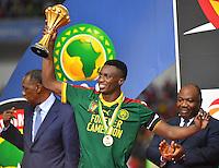 Esultanza Camerun con la Coppa  <br /> Benjamin Moukandjo <br /> Libreville ( Gabon ) 5-02-2017 Coppa Africa 2017 <br /> Finale <br /> Camerun -  Egitto <br /> Foto Boubacar / Panoramic / Insidefoto