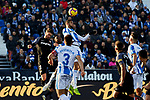 CD Leganes' Unai Bustinza and Sevilla FC's Sergi Gomez during La Liga match between CD Leganes and Sevilla FC at Butarque Stadium in Leganes, Spain. December 23, 2018. (ALTERPHOTOS/A. Perez Meca)