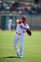 Stockton Ports outfielder Melvin Mercedes (37) warms up before a California League game against the Rancho Cucamonga Quakes at Banner Island Ballpark on May 17, 2018 in Stockton, California. Stockton defeated Rancho Cucamonga 2-1. (Zachary Lucy/Four Seam Images)