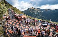 Thibaut Pinot (FRA/Groupama-FDJ), Kenny Elissonde (FRA/Trek-Segafredo) & Niklas Eg (DEN/Trek-Segafredo) up the Puy Mary (uphill finish)<br /> <br /> Stage 13 from Châtel-Guyon to Pas de Peyrol (Le Puy Mary) (192km)<br /> <br /> 107th Tour de France 2020 (2.UWT)<br /> (the 'postponed edition' held in september)<br /> <br /> ©kramon