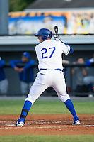 Logan Nottebrok (27) of the Burlington Royals at bat against the Bluefield Blue Jays at Burlington Athletic Stadium on June 28, 2016 in Burlington, North Carolina.  The Royals defeated the Blue Jays 4-0.  (Brian Westerholt/Four Seam Images)