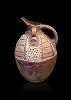 Minoan Kamares Ware ewer jug with polychrome & spiked decorations , Phaistos 1800-1700 BC; Heraklion Archaeological  Museum, black background.<br /> <br /> This style of pottery is named afetr Kamares cave where this style of pottery was first found