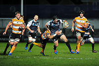 Dan Evans of Ospreys is tackled by Tian Schoeman of Cheetahs during the Guinness Pro 14 Round 7 match between Ospreys and Cheetahs at The Gnoll in Neath, Wales, UK. Saturday 30 November 2019