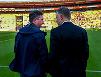 Coaches Robbie Fowler and Ufuk Talay chat before the A-League football match between Wellington Phoenix and Brisbane Roar at Westpac Stadium in Wellington, New Zealand on Saturday, 23 November 2019. Photo: Dave Lintott / lintottphoto.co.nz