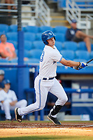 Dunedin Blue Jays catcher Riley Adams (23) follows through on a swing during a game against the Fort Myers Miracle on April 17, 2018 at Dunedin Stadium in Dunedin, Florida.  Dunedin defeated Fort Myers 5-2.  (Mike Janes/Four Seam Images)