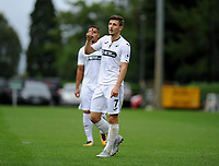 Monday 20th August 2018<br /> Pictured: Swansea City's Adnan Maric celebrates scoring the opening goal <br /> Re: Swansea City U23 v Derby County U23 Premier League 2 match at the Landore Training facility, Swansea, Wales, UK