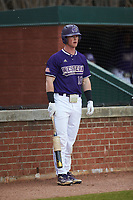 Justice Bigbie (18) of the Western Carolina Catamounts waits for his turn to bat during the game against the St. John's Red Storm at Childress Field on March 12, 2021 in Cullowhee, North Carolina. (Brian Westerholt/Four Seam Images)