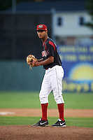 Batavia Muckdogs pitcher Aneury Osoria (38) gets ready to deliver a pitch during a game against the Vermont Lake Monsters August 9, 2015 at Dwyer Stadium in Batavia, New York.  Vermont defeated Batavia 11-5.  (Mike Janes/Four Seam Images)