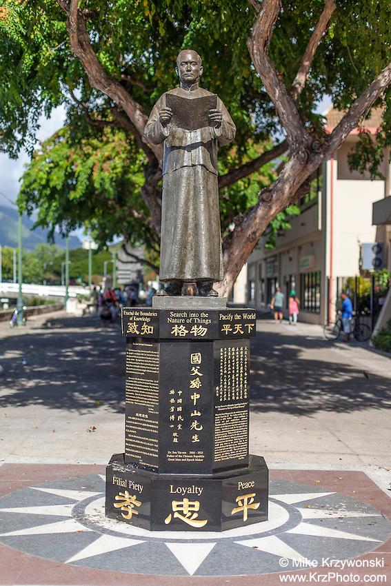 Dr. Sun Yat-sen statue in Chinatown, Honolulu, O'ahu, Hawaii